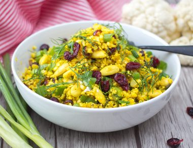 Turmeric Cauliflower Couscous with Crunchy Almonds