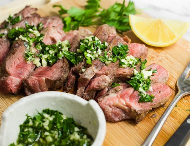 Grilled Ribeye with Garlic Parsley Sauce